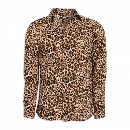 Leopard Print Long Sleeve Shirt -