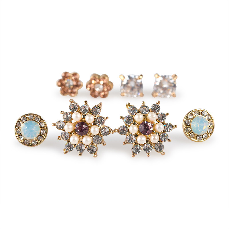 4Pack Diamante Earring Set -