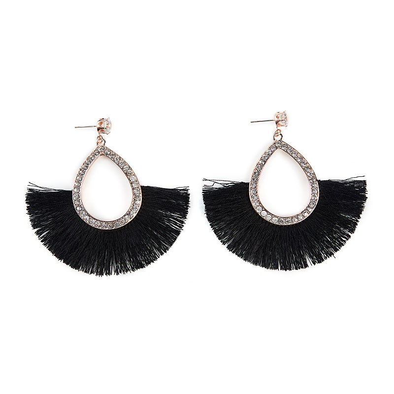 Black Fan Earrings -