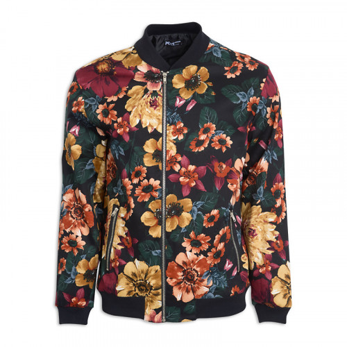 Black Floral Bomber Jacket -