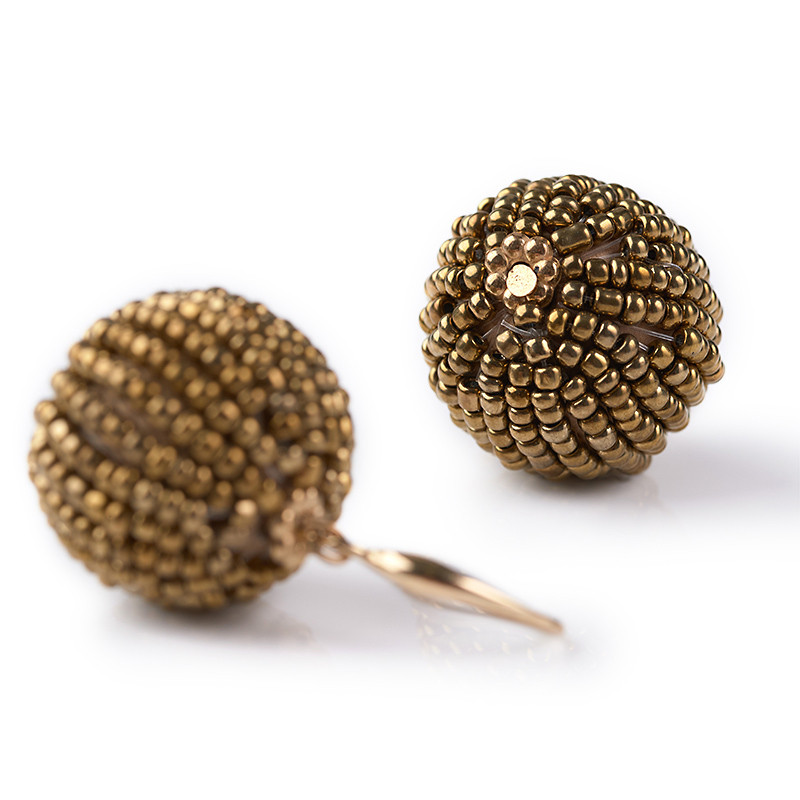 Gold Seedbead Earrings -