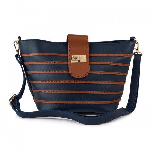 Navy Stripe Bag -