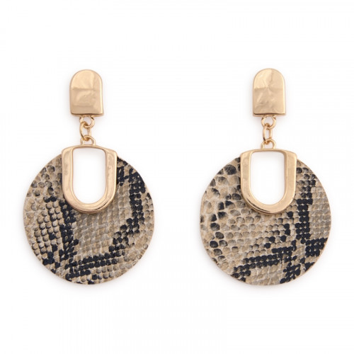 Snake Disk Drop Earrings -