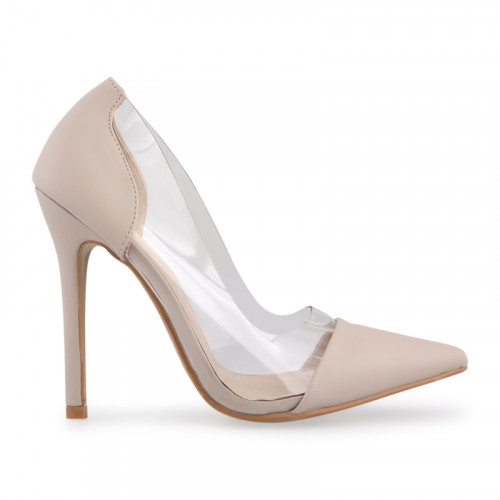 Nude PU Court Shoe With Clear Sides -