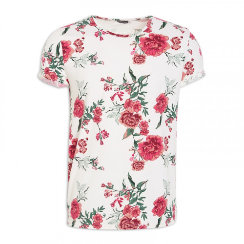 White Floral Crew Neck T-Shirt -