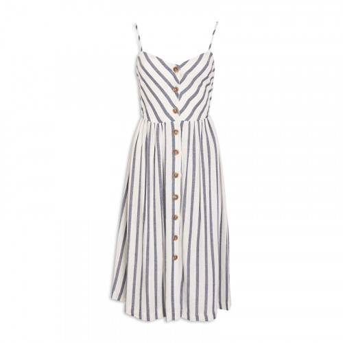Navy Stripe Linen Dress -