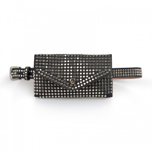 Black Studded Waist Bag -