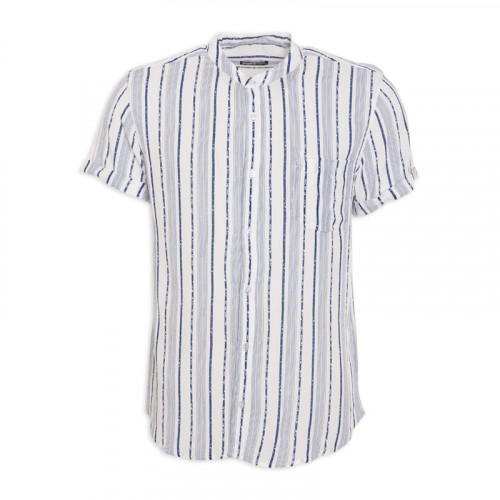 Navy Stripe Short Sleeve Shirt -