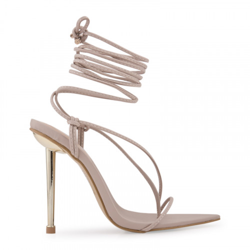 Nude PU Long Strappy Stiletto Sandal -