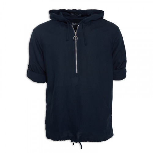 Navy Linen Zip Top -
