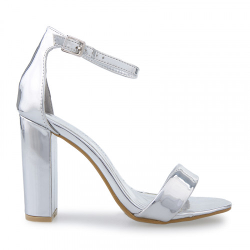 Nude PU Crossover Ankle Strap Sandal -