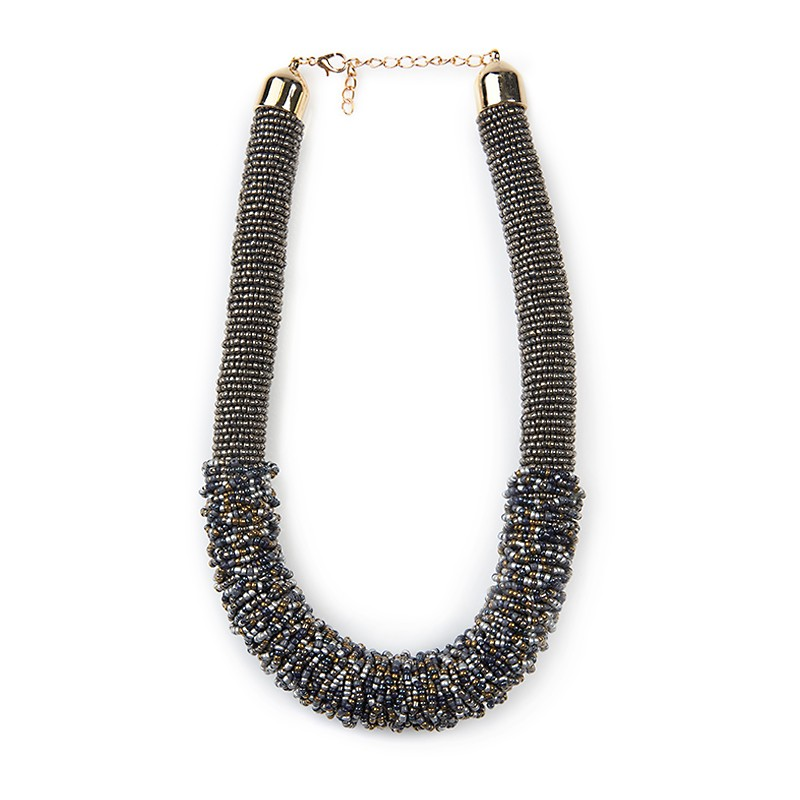 Gunmetal Seedbead Necklace -