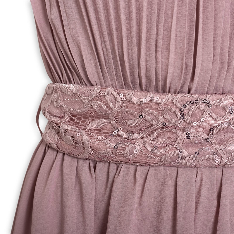Lavender Belted Bridesmaids Dress -