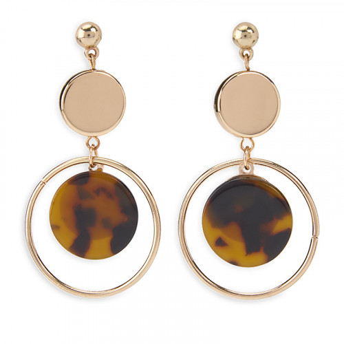 Brown Resin Disk Earrings -