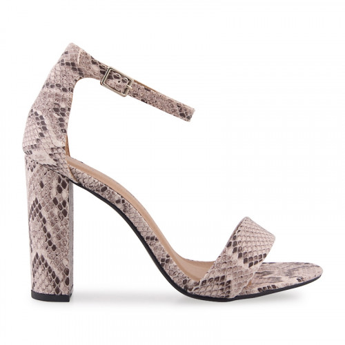 Natural Snake Ankle Tie Sandal -