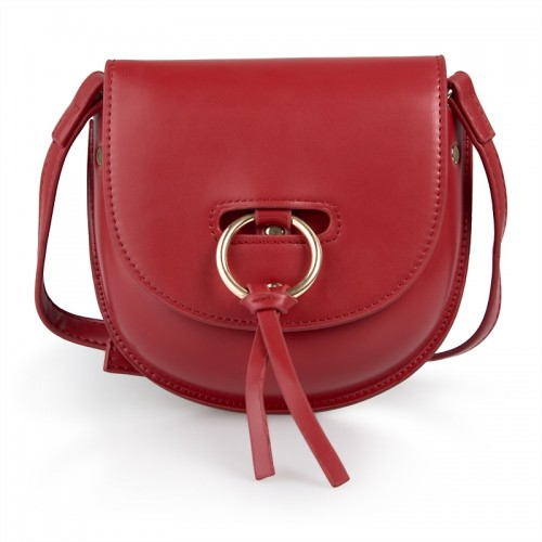 Red Faux Leather Bag -