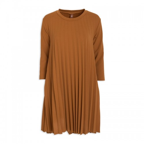 Ochre Pleated Dress -