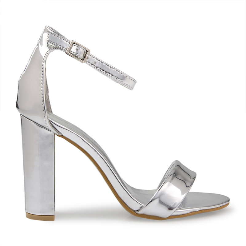 Silver Chrome Ankle Tie Sandal -