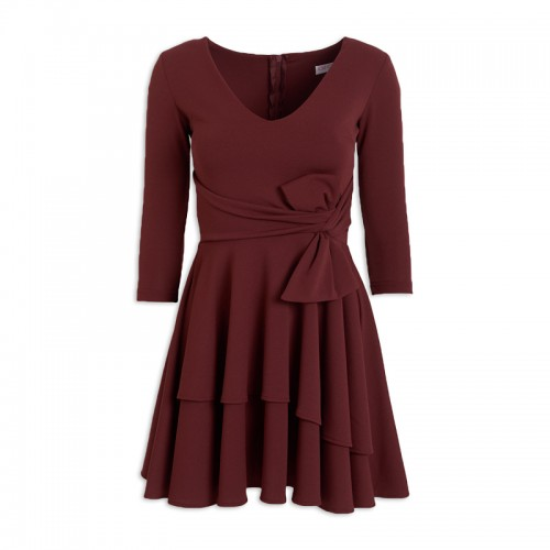 Burgundy Bow Dress -