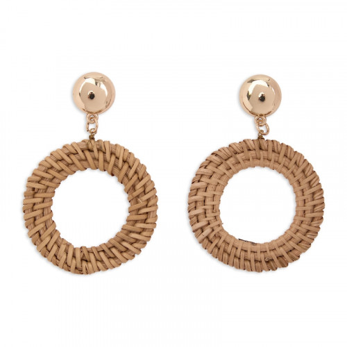 Natural Straw Hoop Earring -