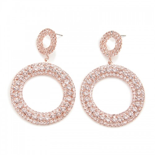 Rosegold Diamante Drop Circle -