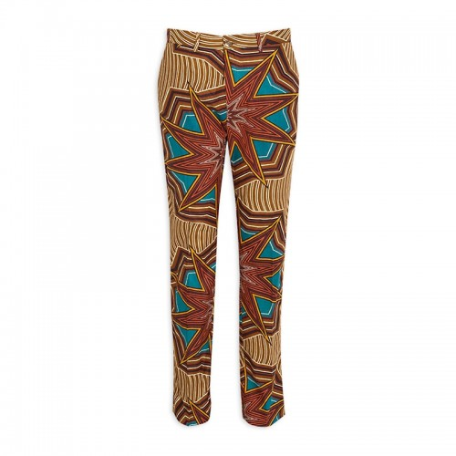 Brown African Print Trouser -