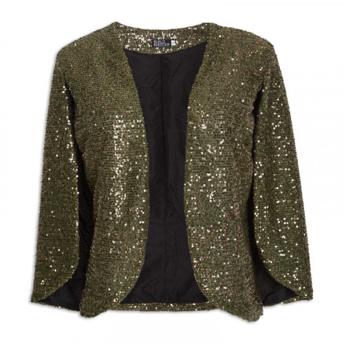 Green Sequin Cape Jacket -