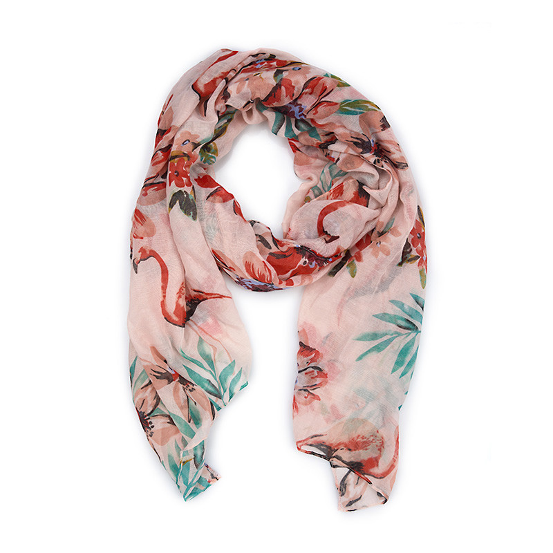 Pink Base Tropical Scarf -