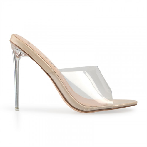 Nude Patent Clear Slip-On Sandal -