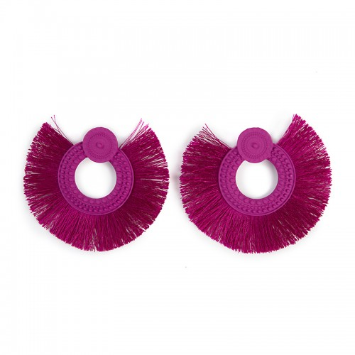 Magenta Fan Earrings -