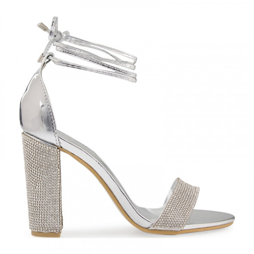 Silver Chrome Diamante Ankle Tie Sandal -