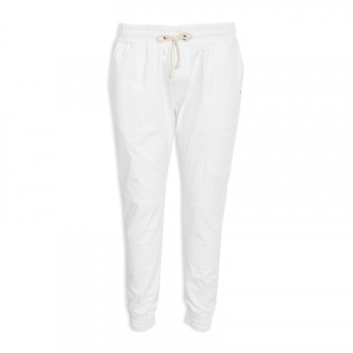White Elasticated Cuff Trouser -