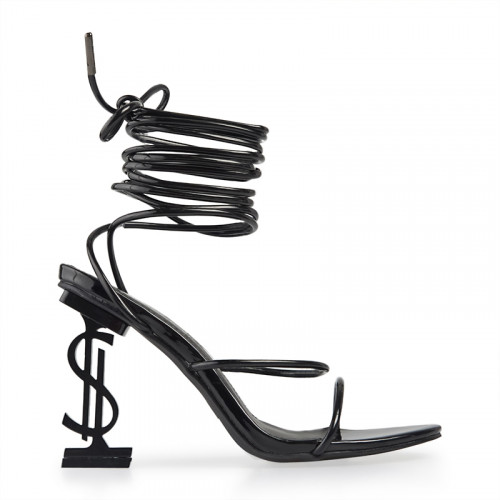 Black Patent Dollar-sign Heeled Sandal -