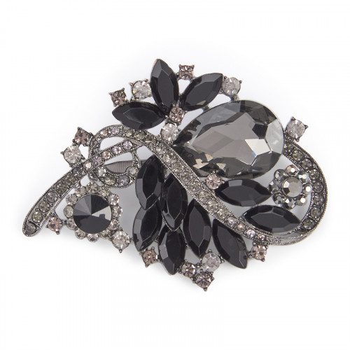 Black Multi Stone Brooch -