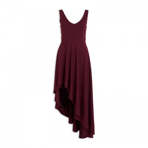 Wine V-neck Dress -