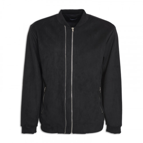 Black Suede Bomber Jacket -