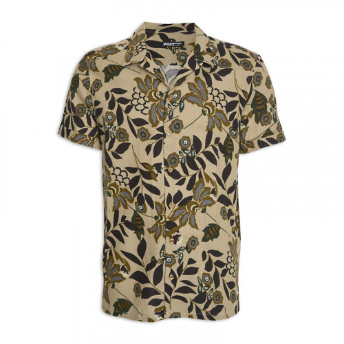 Olive Floral Short Sleeve Shirt -