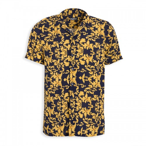 Navy Print Short Sleeve Shirt -