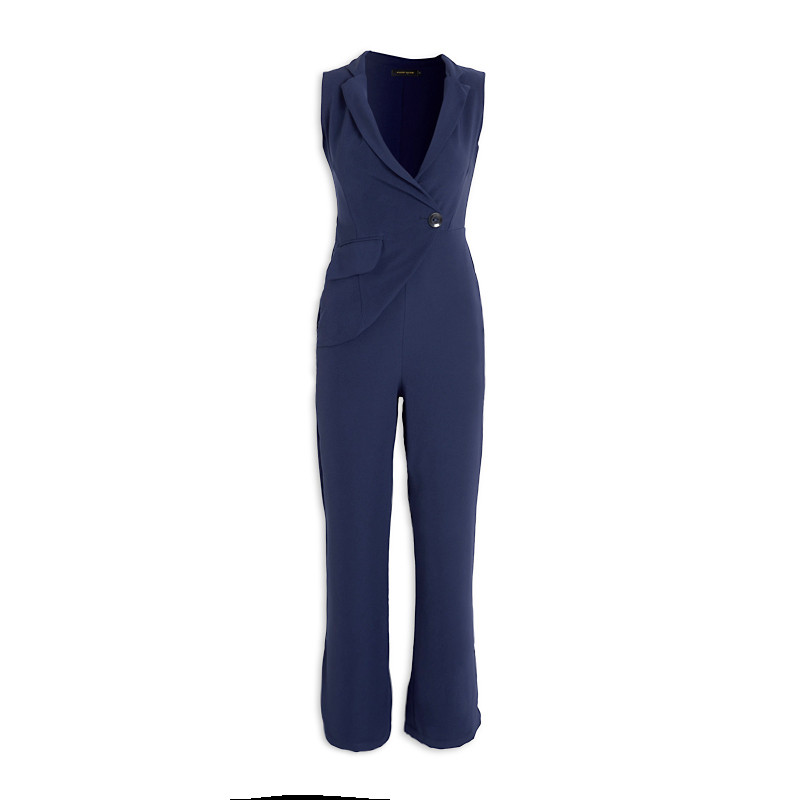 Navy Suit Jumpsuit -