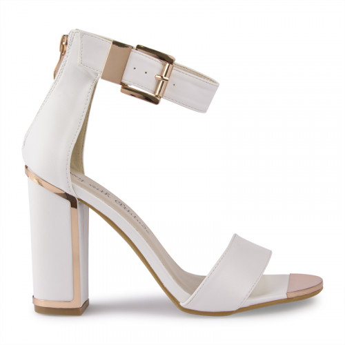 White Large Buckle Detail Sandal -