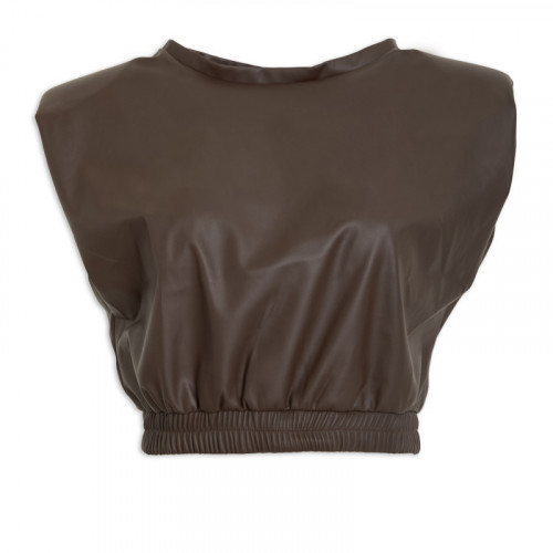 Brown PU Padded Top -