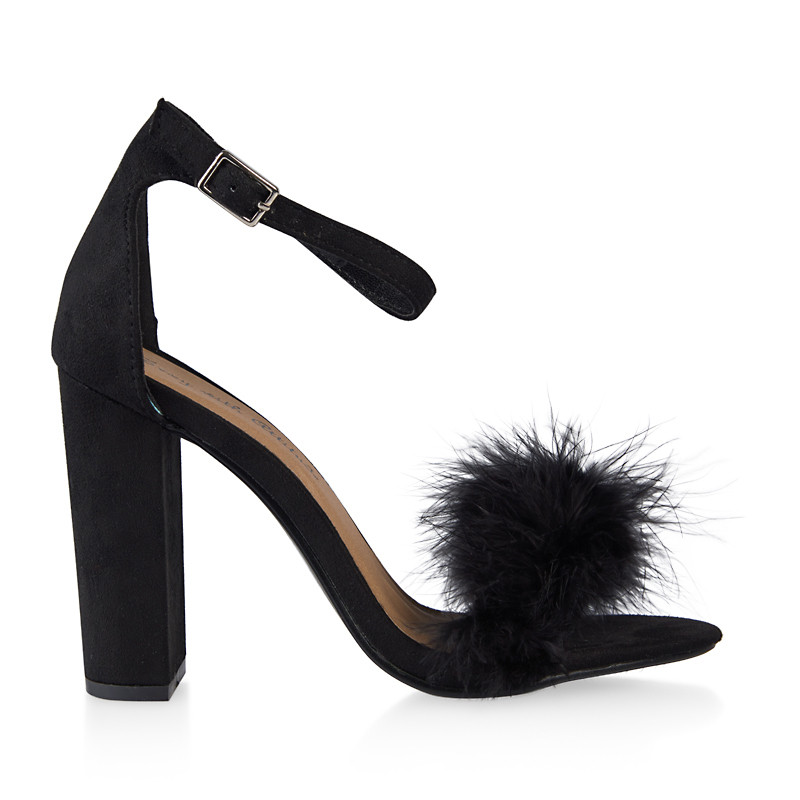 Black Faux Fur Sandal -