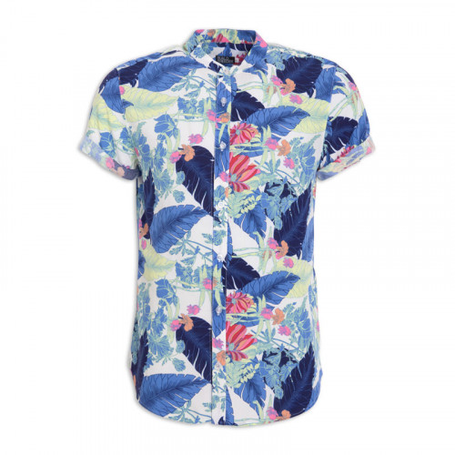 Blue Feather Mandarin Short Sleeve Shirt -