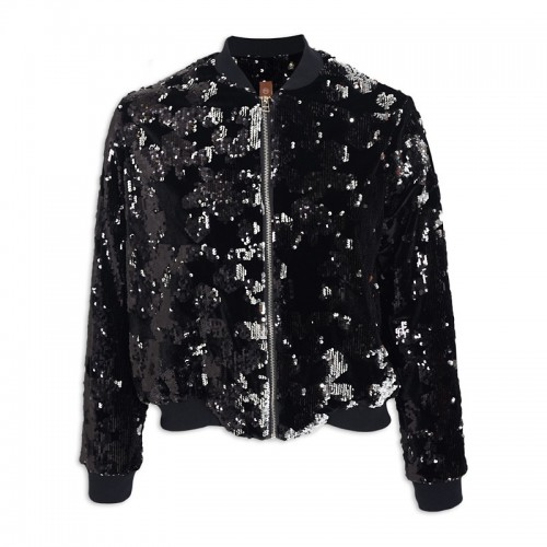Black/silver Sequin Bomber -