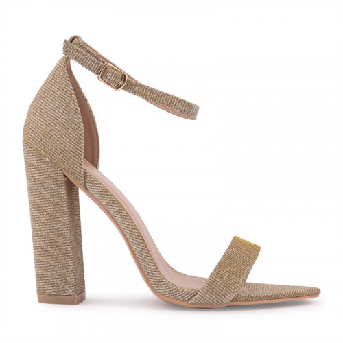Gold Glitter Low Heel Sandal -