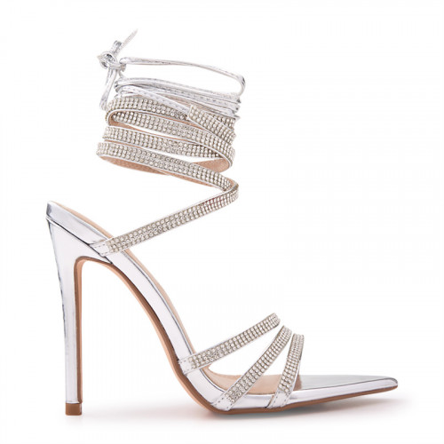 Silver Shiny Closed Toe StilettoSandal -