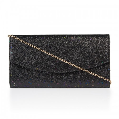 Black Sparkle Curve Clutch -