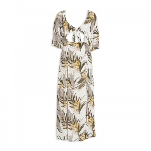 Beige Print Overlay Dress -