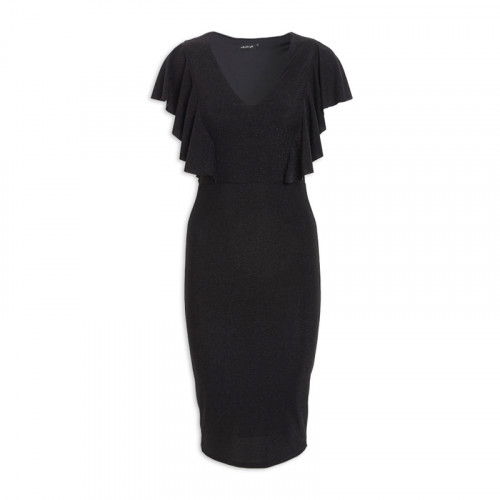 Black Frill Bodycon Dress -