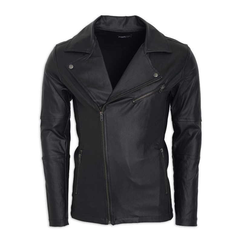 Black Pleather Biker Jacket -